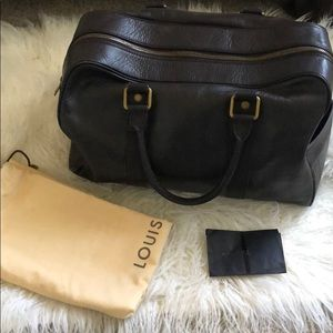 LOUIS VUITTON BROWN LEATHER DUFFLE BAG